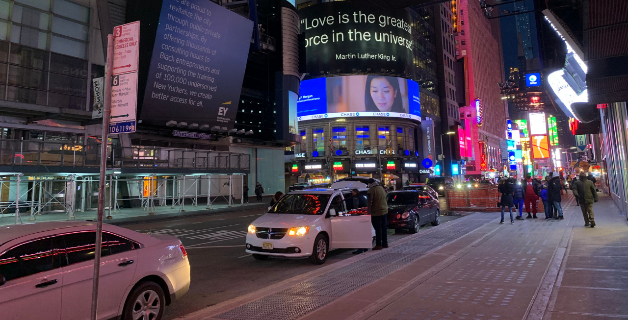 """Times Square, NYC, """"Love is the Greatest Force in the Universe"""" Martin Luther King Jr."""